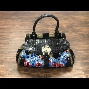 Limited edition Fendi bag floral and striped